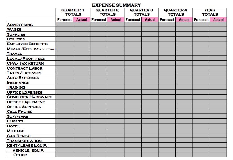 Expense Summary Worksheet